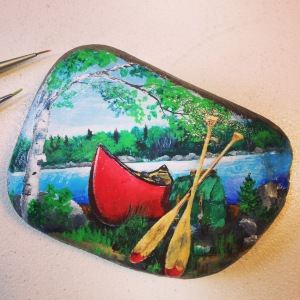 red canoe in the boundary waters